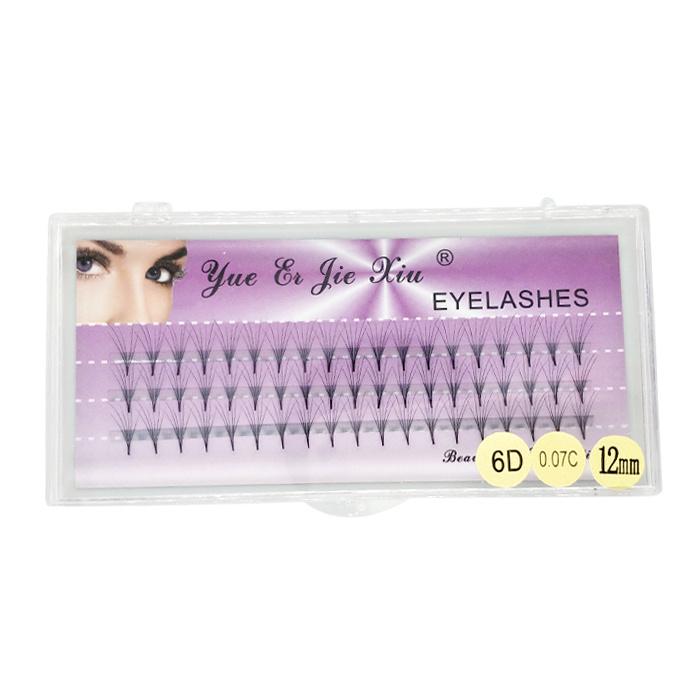 Handmade volume private label fake silk 6d individual eyelashes