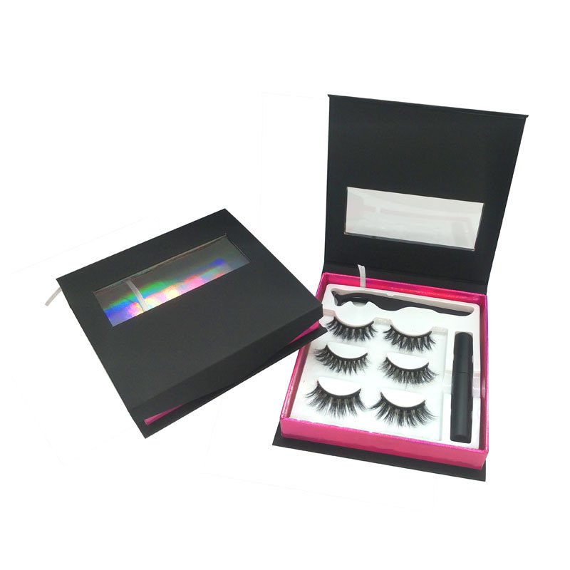 3pairs black holographic pink inside wholesale custom eyelash packaging box
