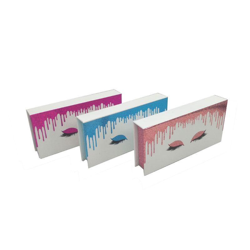 Glitter foil pink blue custom packaging boxes for eyelashes