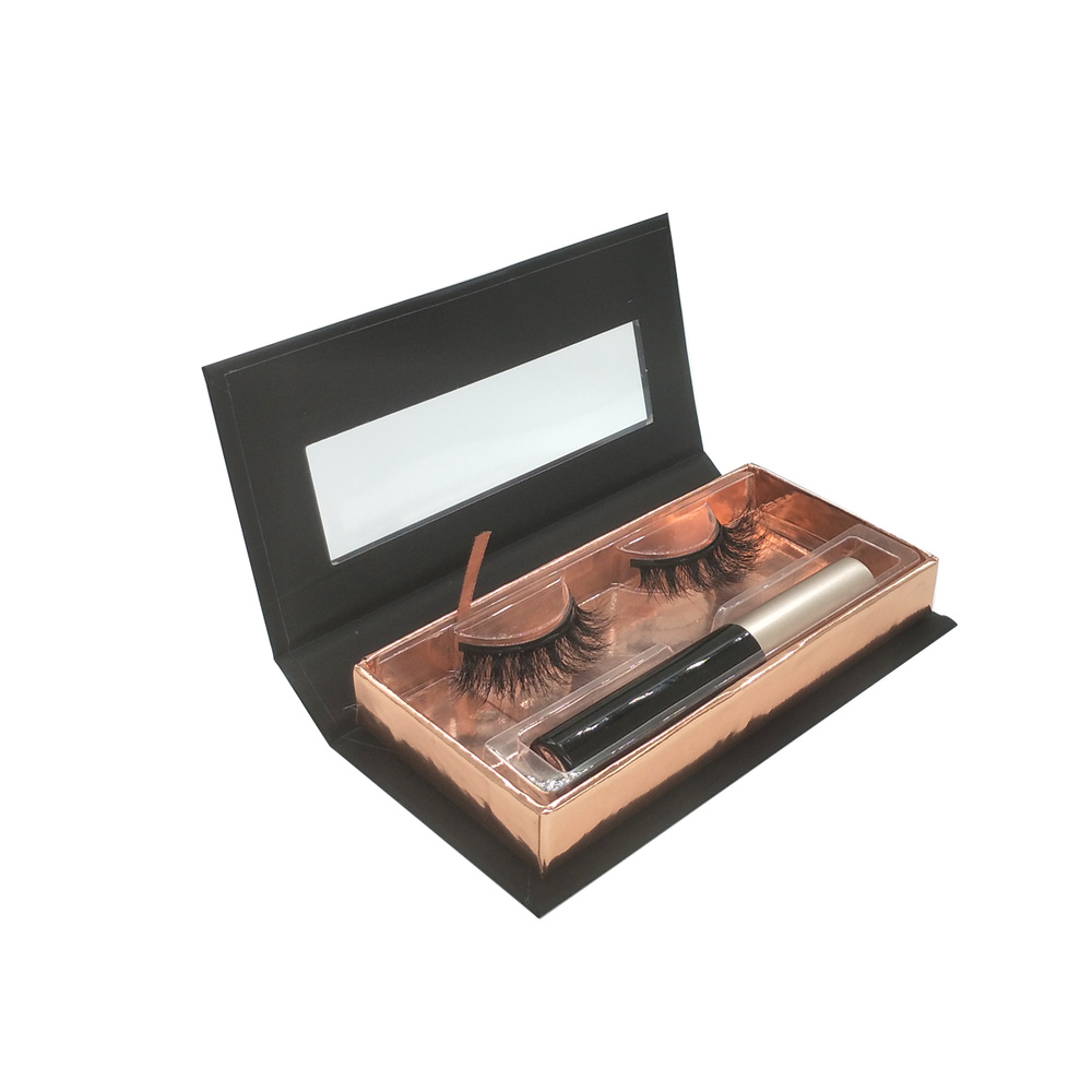 Black rose gold eyelashes packaging eyeliner put in custom magnetic lash box