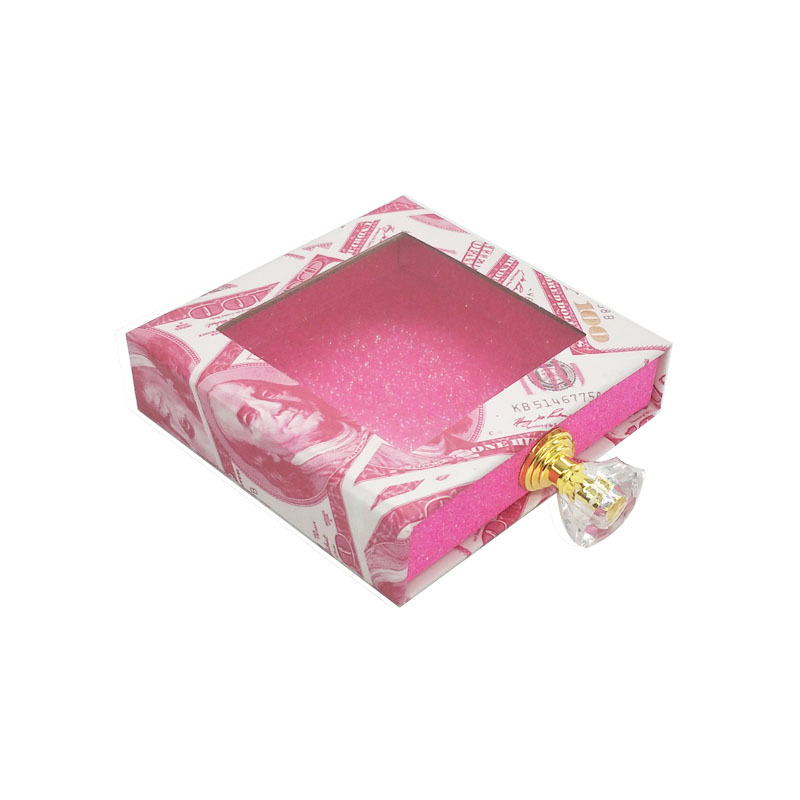 Square money design hot pink glitter diamond handle custom lash boxes wholesale