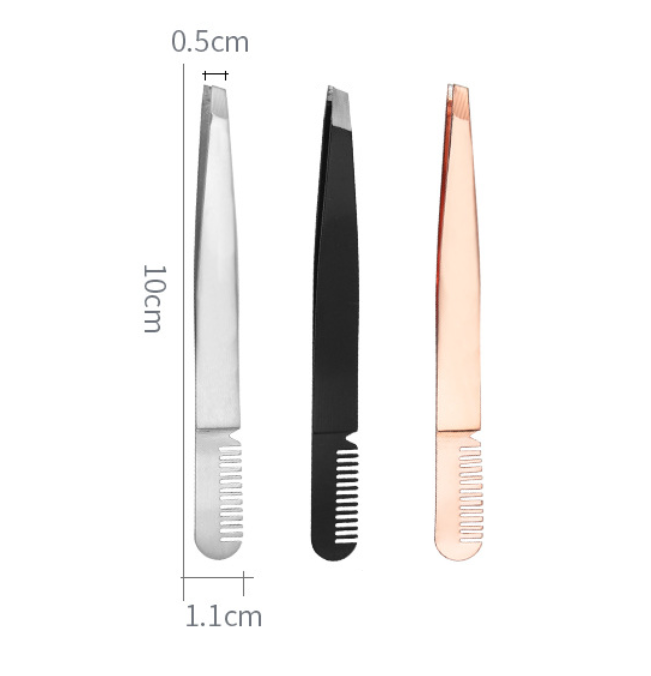 private label black rose gold best tweezers for eyebrows with comb