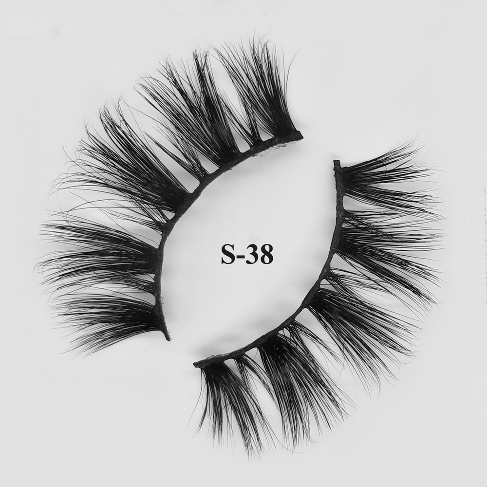 Cruelty Free Strip Eyelashes Private Label 3d Cheap Mink Lashes Bulk With Custom Package S-38
