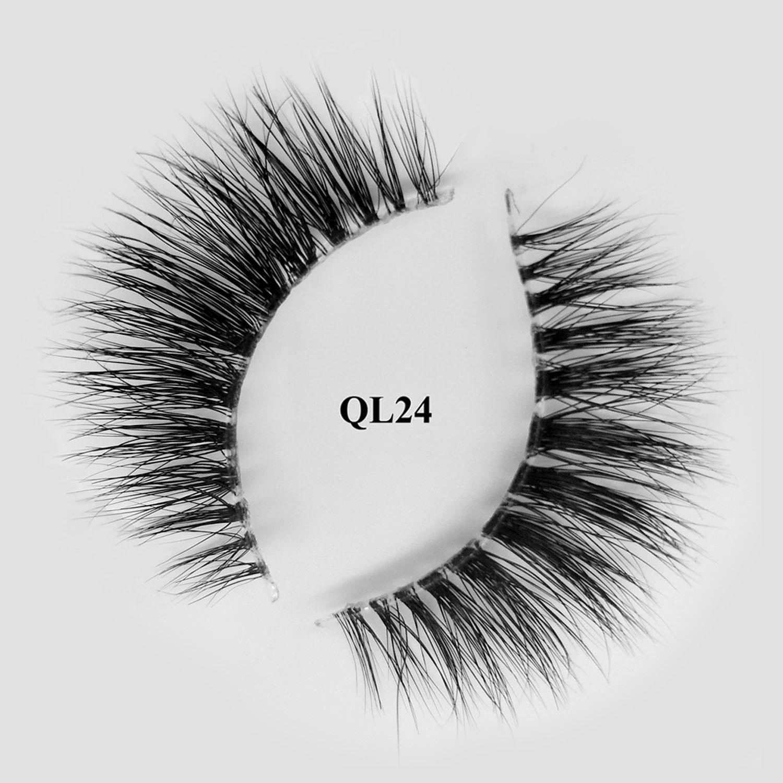3d transparent band real mink fur natural fake eyelashes with custom box QL24