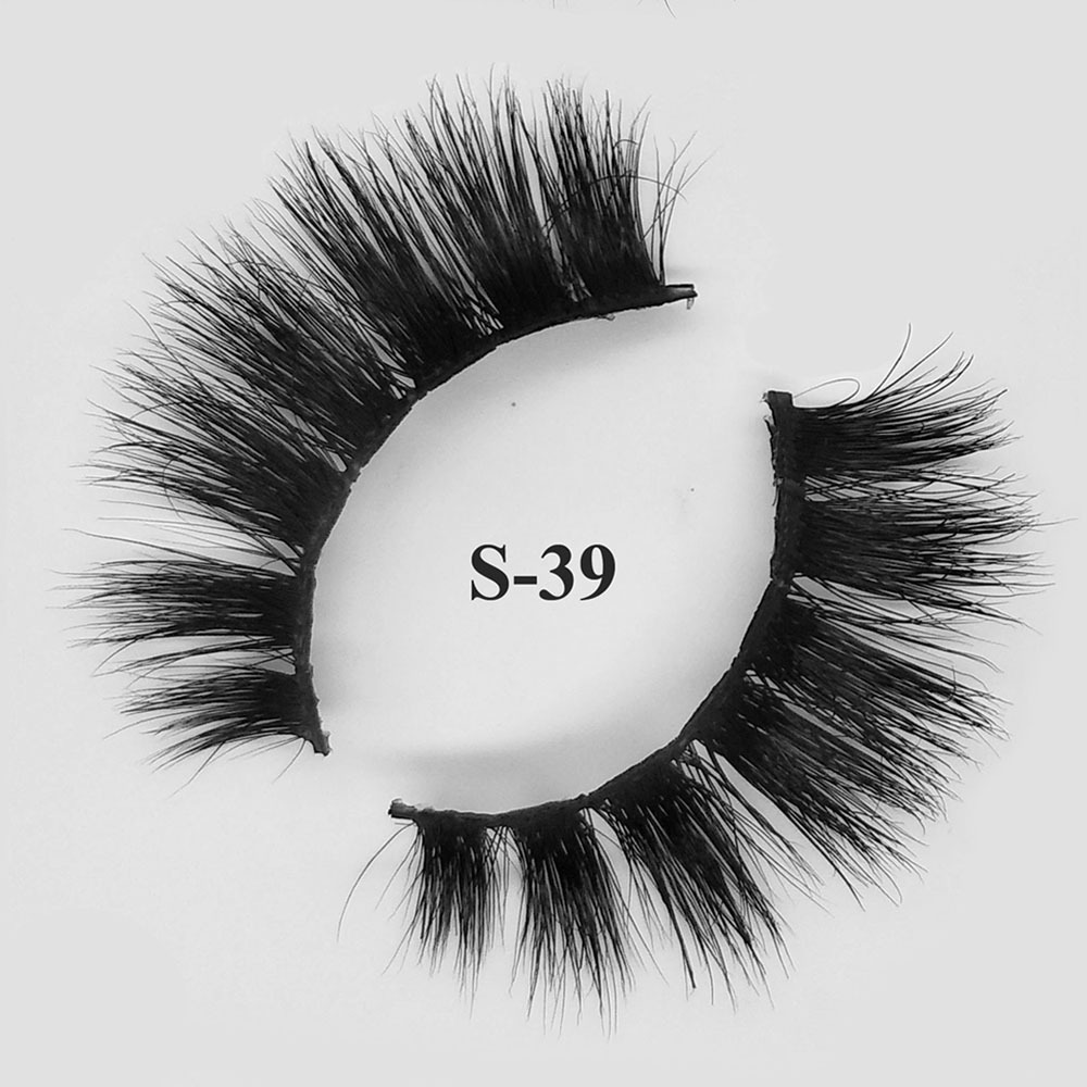 Custom package with private label premium mink lashes wholesale 3d Mink eyelashes S-39