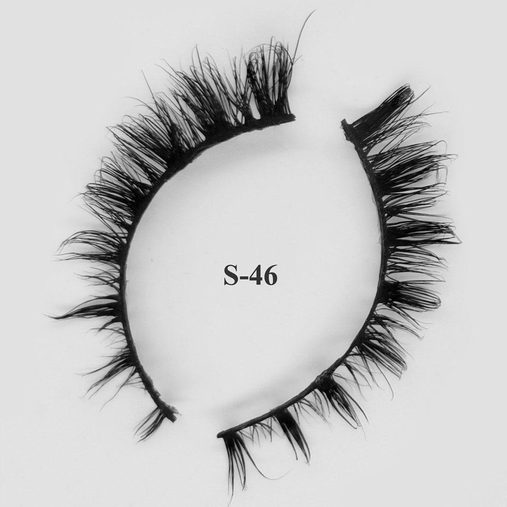 Mink Hair Fake Eyelashes Soft OEM Provide Custom Packing 3D Real Mink Lashes S-46