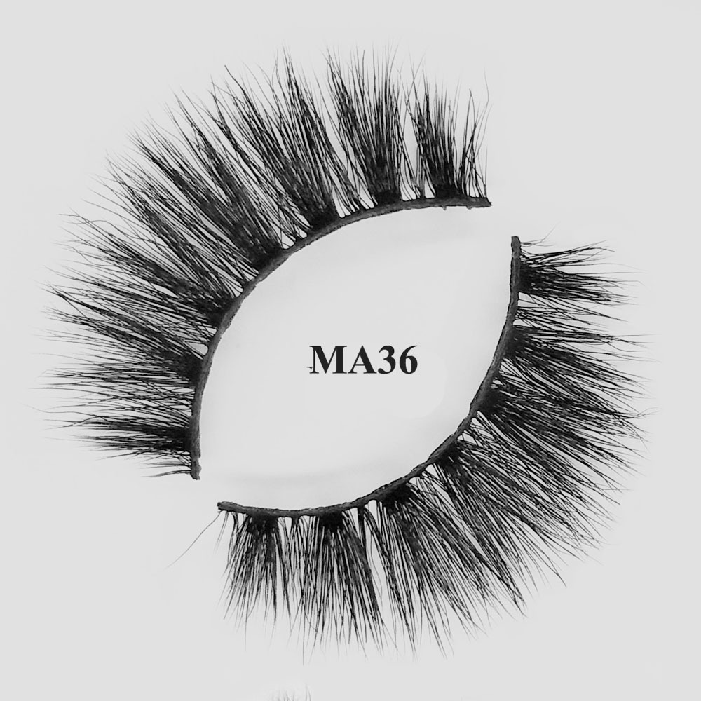 cheap and best3d faux mink natural eyelashes with custom packaging box MA36
