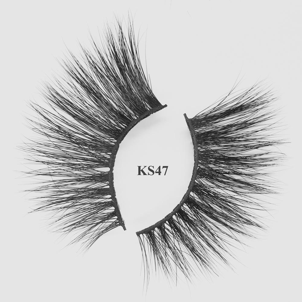 wholesale mink eyelashes 5d mink strip lashes with oem packaging KS47