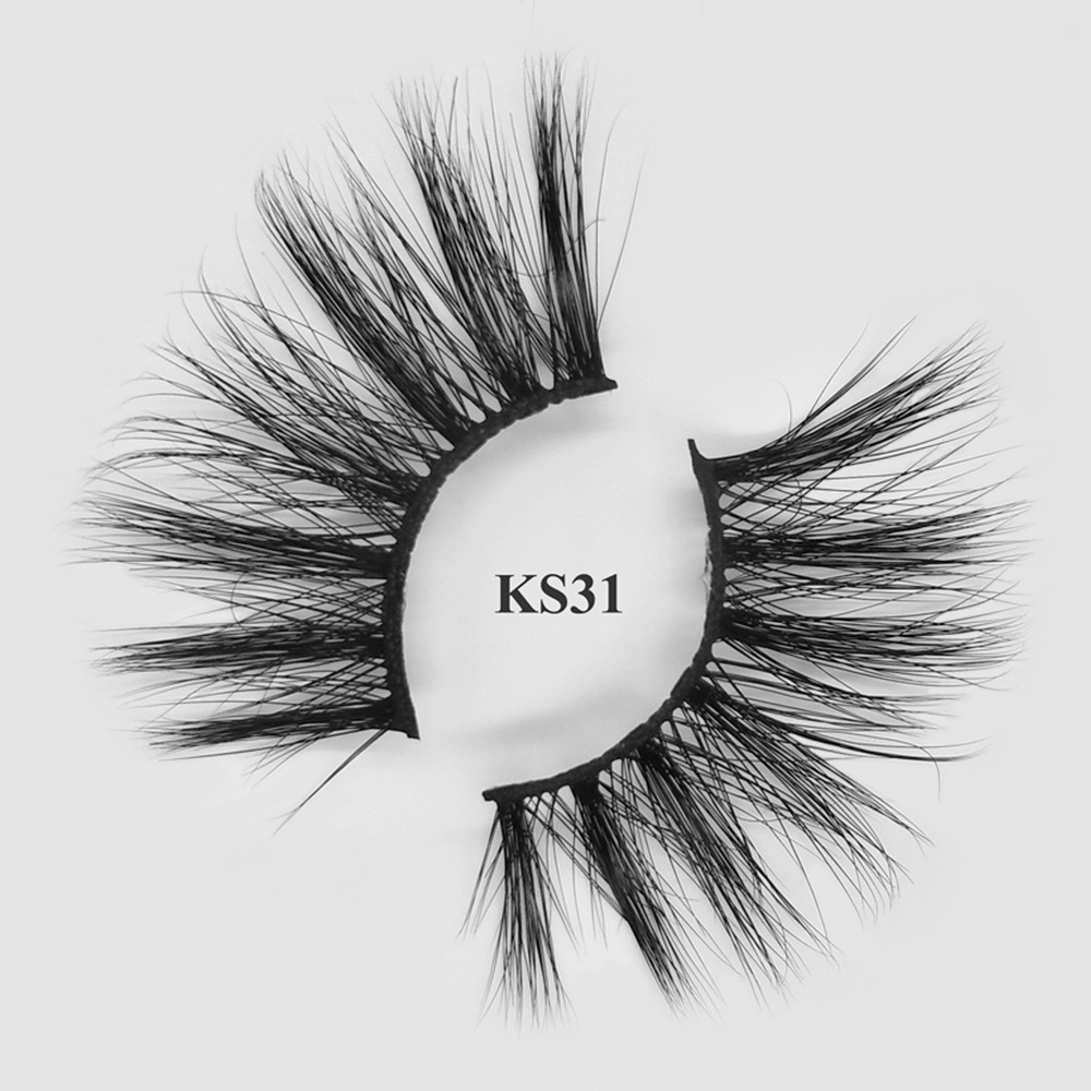 Natural looking private label 25mm real mink lashes with custom packaging KS31