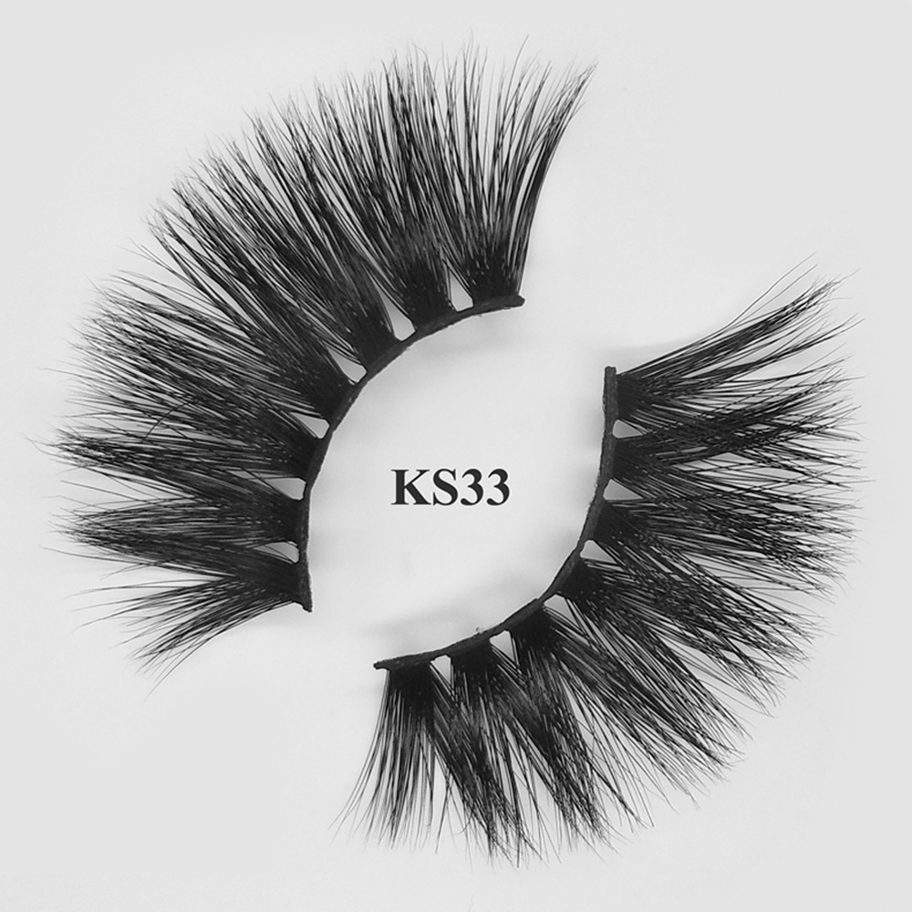 25mm Natural fake eyelashes 5d mink strip lashes wholesale KS33