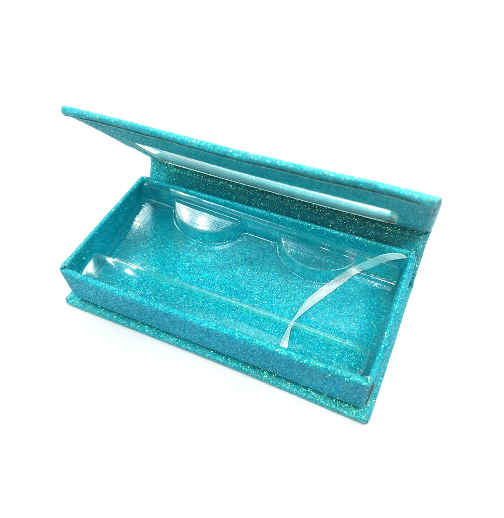 Luxury aqua green glitter magnetic closure lash box eyelash packaging with window