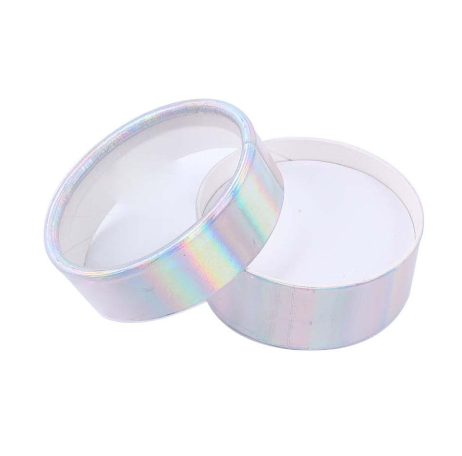 Empty round holographic eyelash packaging box