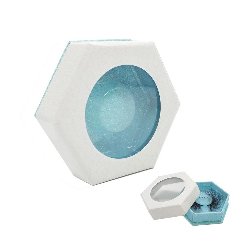 Luxury custom aqua hexagon eyelash packaging box with clear window
