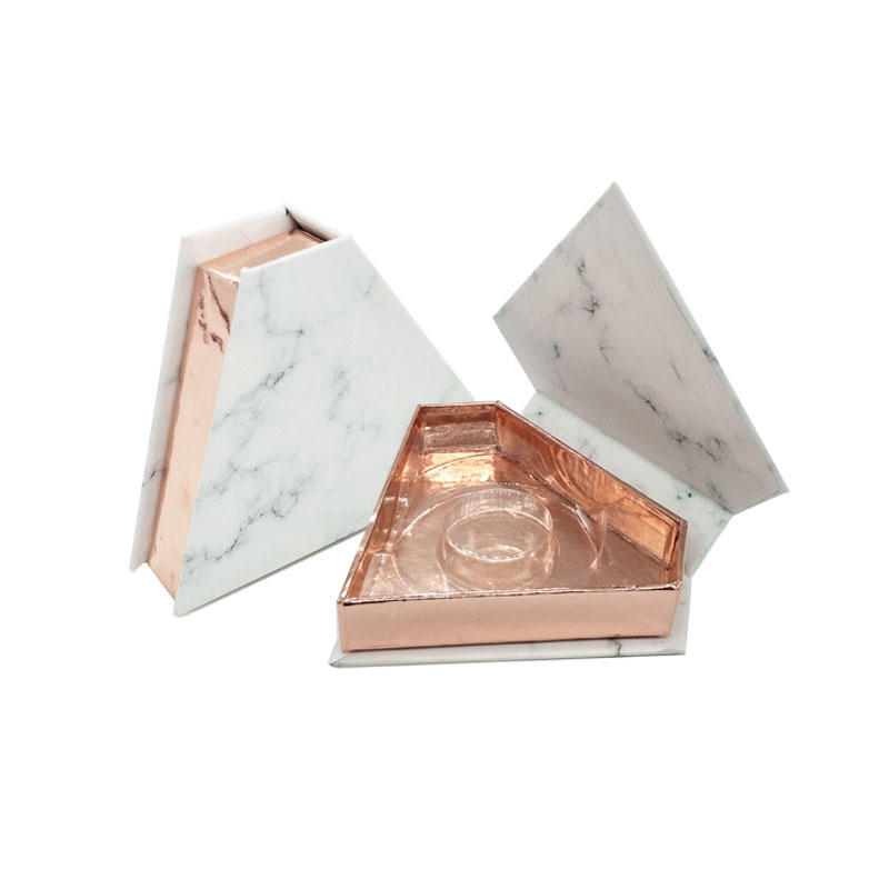 Marble diamond rose gold inside eyelash packaging logo printing lash box